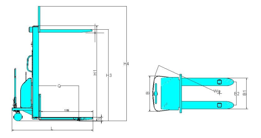 YBK机器尺寸示意图